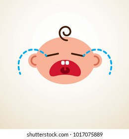 Cute baby cartoon vector flat icon, sad crying and unhappy child emoji.
