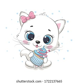 Cute baby cat with cupcake. Vector illustration for baby shower, greeting card, party invitation, fashion clothes t-shirt print.