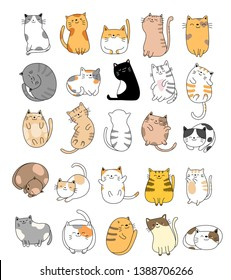 Cute baby cats cartoon hand drawn style,for printing,card, t shirt,banner,product.vector illustration