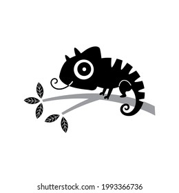 cute baby chameleon silhouette sticker vector drawing