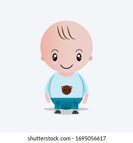 cute baby character, boy is sitting. kawaii character