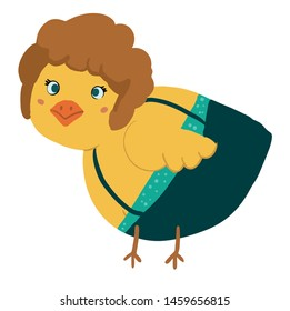 Cute baby chick costume party style vector illustration