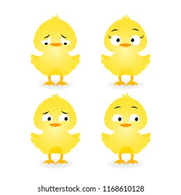 Cute Baby Chick  Different Emotions cartoon on a white background. Vector illustration.