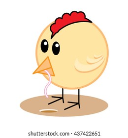 Cute baby chicken eating worm. Early bird gets the worm concept. Cartoon character isolated on white background.