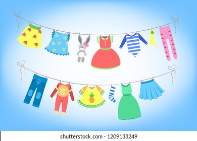 Cute baby clothes drying on the rope.Clothing on the washing line. Dress and costume, bunny, panties and shorts. Flat vector illustration