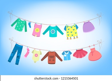 Cute baby clothes drying on the rope.Clothing on the washing line. Dress and costume, panties and shorts. Flat vector illustration