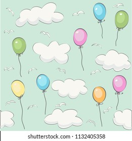 Cute baby cloud pattern and balloons