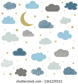 Cute baby clouds, stars, moon pattern vector