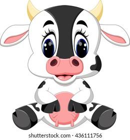 Cute baby cow cartoon