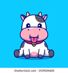 Cute Baby Cow Sitting Cartoon Vector Icon Illustration. Animal Nature Icon Concept Isolated Premium Vector. Flat Cartoon Style