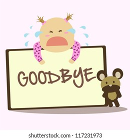 "Cute baby crying when holding a ""goodbye"" card for farewell with toy bear on pink background"