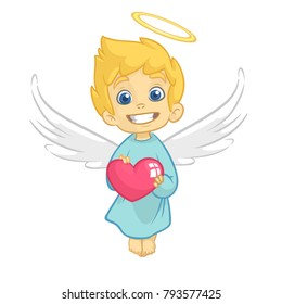 Cute  Baby Cupid Angel Hugging a Heart. Cartoon illustration of Cupid character for St Valentine's Day isolated on white