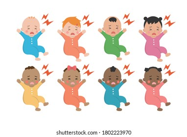 Cute baby daily illustration set, different races with skin color, noisy, crying, yelling, dissatisfied, character, cartoon vector illustration, set, set, isolated