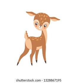 Cute Baby Deer, Adorable Sweet Forest Fawn Animal Vector Illustration