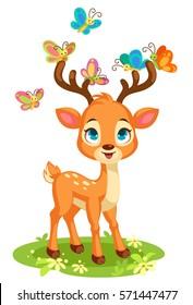 Cute baby deer and butterflies