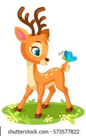 Cute baby deer and butterfly