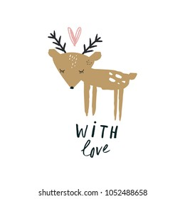 Cute baby deer card. Art, template. Decor element. Good for gifts. Clipart.  Isolated vector illustration.