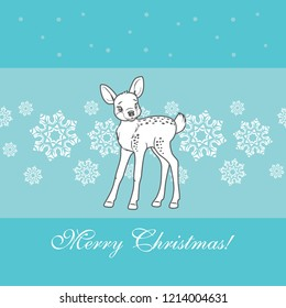 Cute baby deer on a blue background with snowflakes. Vector