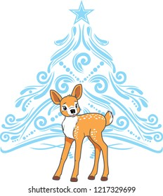 Cute baby deer with stylized blue Christmas tree. Vector