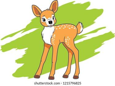 Cute baby deer. Vector