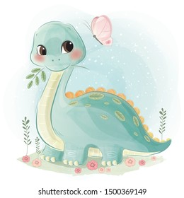 Cute Baby Dinosaur Playing Happily