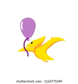 Cute baby dinosaur pterodactyl with balloon illustration in flat style for kid clothes print, poster, banner, logo, icon, greeting card, Dino party invitation, prehistoric animal. Fun cartoon Graphics