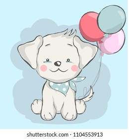 cute baby dog with balloon cartoon  for t-shirt, print, product, flyer ,patch, fabric, textile,tile,card, greeting  fashion,baby, kid, shower, powder,soap, hand drawn style. vector illustration