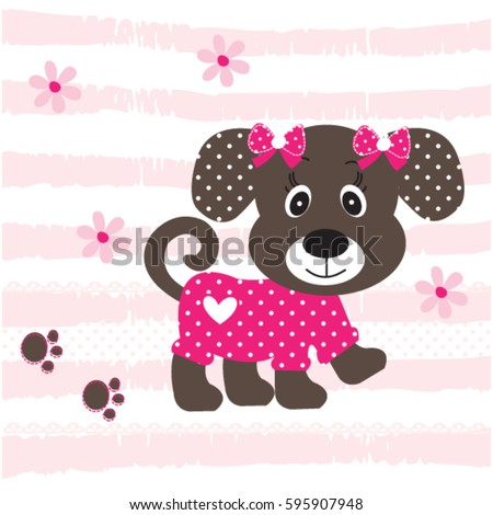 Cute Baby Dog Cartoon On Striped Stock Vector Royalty Free