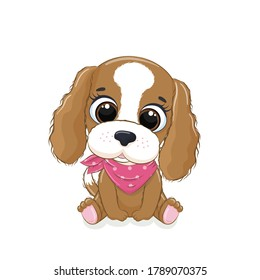 Cute baby dog. Vector illustration for baby shower, greeting card, party invitation, fashion clothes t-shirt print.