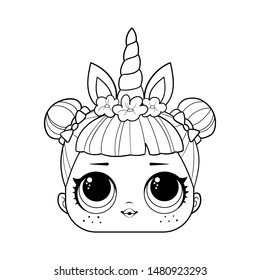 Cute baby doll with big eyes. surprise. Coloring page. Outline art drawing. Lol cartoon style. Isolated vector illustration