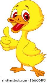 Cute baby duck cartoon thumb up,