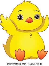 Cute baby duck cartoon waving