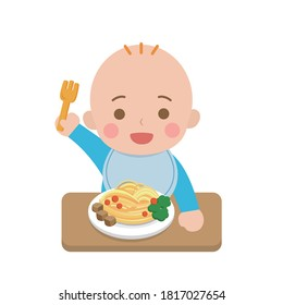 Cute baby eating noodles, daily life, cartoon comic vector illustration, set, isolated