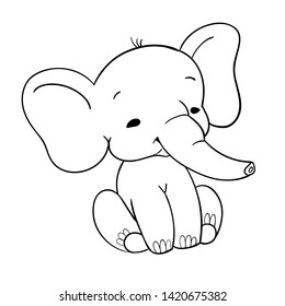 Cute baby elefant sitting. Funny black and white elefant for design