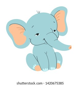 Cute baby elefant sitting. Funny blue elefant with for design