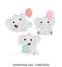 Cute baby elephant and balloons. Animal wildlife cartoon character vector.
