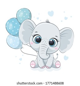 Cute baby elephant with balloons. Vector illustration for baby shower, greeting card, party invitation, fashion clothes t-shirt print.