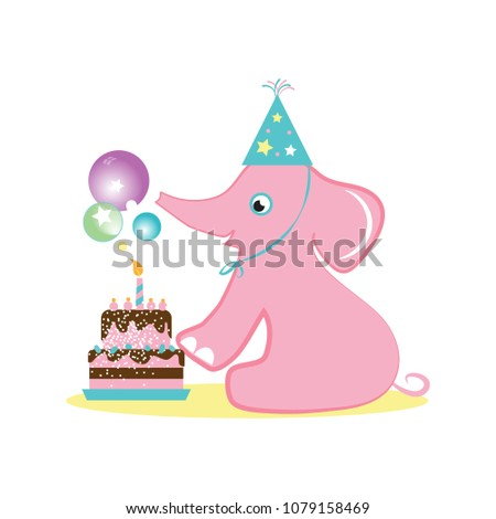 Cute Baby Elephant With Birthday Cake Cartoon Character Vector Illustration Can Be Used For Party Invitation And Greeting Card