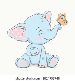 Cute baby elephant with butterfly, vector illustration.