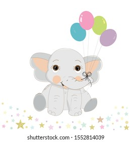 Cute baby elephant with colorful balloon. First birthday greeting card. One. Birthday invitation. Party greeting card. Baby shower, fashion for fabric design