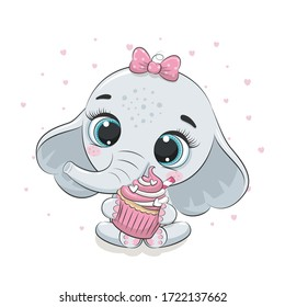Cute baby elephant with cupcake. Vector illustration for baby shower, greeting card, party invitation, fashion clothes t-shirt print.