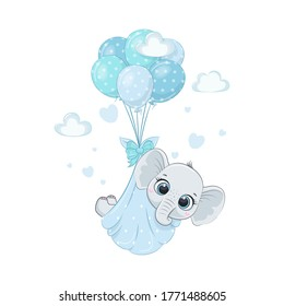 Cute baby elephant in diapers on the balloons