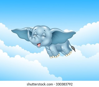 Cute baby elephant flying on cloud background