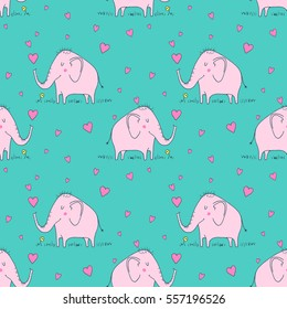 Cute baby elephant with hearts - vector hand drawn seamless pattern. Childish kawaii style sketch with small animal. Valentines day romantic wallpaper