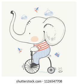 cute baby elephant on bicycle.cartoon hand drawn vector illustration. Can be used for baby t-shirt print, fashion print design, kids wear, baby shower celebration greeting and invitation card.