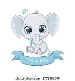 "Cute baby elephant with phrase ""It's a boy"""