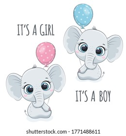 """Cute baby elephant with phrase """"It's a boy"""" and """"It's a girl"""""""