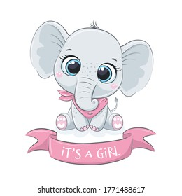 """Cute baby elephant with phrase """"It's a girl"""""""