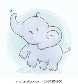 Cute baby elephant play with butterfly water color cartoon hand drawn vecter illustration. Use for Happy birthday invitation card, T-shirt print, baby shower.
