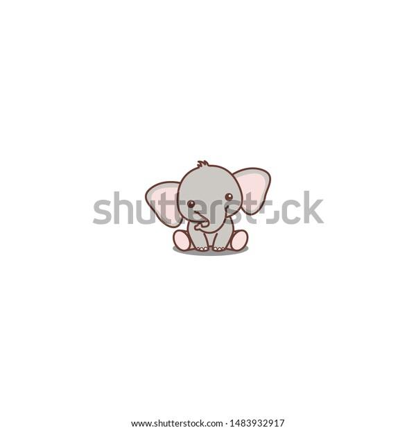 Cute Baby Elephant Sitting Cartoon Icon Stock Vector Royalty Free 1483932917